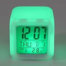 LED 7 Color Changing Digital Alarm Clock Date Time Thermometer Snooze LCD Cube