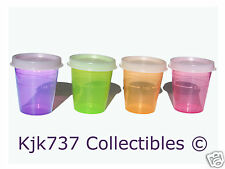 RARE 4 NEW TUPPERWARE 2 OZ MIDGETS MINI'S CONTAINERS PINK GREEN PURPLE & ORANGE!