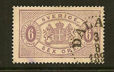 SWEDEN: 1882  6 ore claret  OFFICIAL  perf 13  SG O31d used