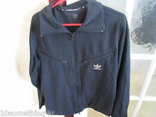 ADIDAS  MENS VINTAGE ZIPPED COTTON JACKET LARGE CHEST 42 INCHES BLACK GOLD