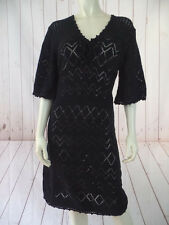 Tyler Boe Dress M Black Cotton See Thru Crochet Stretch Knit Pullover V-neck New