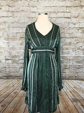 Elie Tahari T 100% Silk Green Belted Dress M