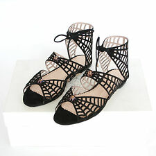 CHARLOTTE OLYMPIA $1,195 spiderweb sandals Miss Muffet spider web shoes 36 NEW