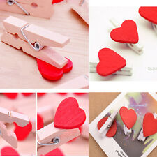 20Pcs Vogue Wooden Red  Love Heart Pegs Photo Paper Clips Wedding Decor Craft