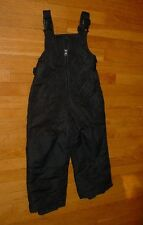 BOYS Ski Snow Bibs Pants BLACK Waterproof Insulated Reinforced KIDS XS 4/5