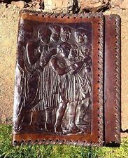 Antique LEATHER Bible Cover Black Folk Art Slave Children Hymnal ONE of KIND /