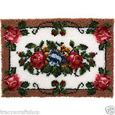 "Elegant Roses Latch Hook Kit Rug Making Kit 24x34"" latch hook canvas"