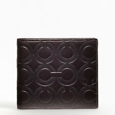 $168 NWT Coach Crosby Op Art Embossed Leather Logo Double Billfold Wallet 74504