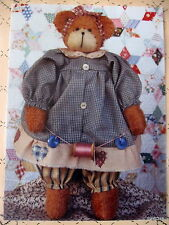 "Homespun at Heart "" Abby "" primitive teddy bear craft pattern 12"""