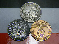 Nazi 2 & 10 Reichspfennig Coins 1930's Buffalo Nickel US German Lot