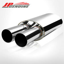"3"" DUAL FLAT TIP 3"" INLET OVAL BODIED EXHAUST MUFFLER FIT UNIVERSAL 3"