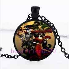 Nightmare Before Christmas Cabochon Glass Black Pendant Necklace