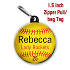 Softball Zipper pull/Bag Tag Personalized with Name, Number, Team 1.5 inch charm