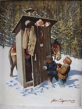 WES CHAPMAN listed original signed painting old western funny outhouse man snow