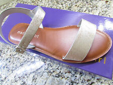 NEW MADDEN GIRL BLURT SILVER  SANDALS WOMENS 7.5 STRAPPY FLATS  FREE SHIP