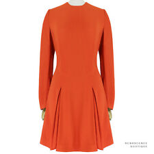 Stella McCartney Deep Orange Crepe Inverted Pleat Skirt Dress IT42 UK10