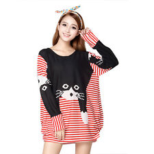 Knitted Stripped Cat Printed  Women Long Sleeve Loose Red Black Short Dress