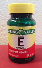 Spring Valley Vitamin E Supplement 400 IU,100 Softgels Expires 2019 or Better