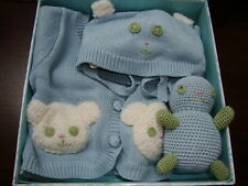 New April Cornell Baby Gift 3pc Set Blue Newborn Infant 0 6M Teddy Bear Sweater