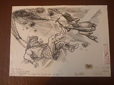"LANCASTER PARACHUTIST in KILT ! ww2 Pen & Ink orig 20th C illus""Bill Hewison"" Ar"