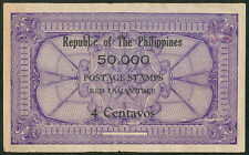 1950's Philippine 4 Centavos 50,000 Cinderella Postage Stamps / Chit - PURPLE