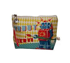 Cotton Candy Robot Alert Sci Fi Retro Kitsch Zipped Cosmetic Make Up Wash Bag