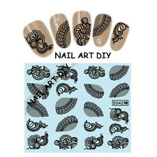 Adesivi per unghie con Pizzo Nero-Nail Art Stickers-Decals water transfer!