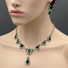 18K White Gold GP Emerald Zirconia CZ Necklace Earrings Wedding Jewelry Set 8402