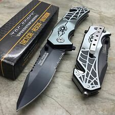 Tac Force Grey Gray Spider Pocket Knife with Glass Breaker