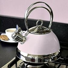 NEW! Retro Pastel PINK Candy Rose Duck Egg Stove Kettle Silver Stainless Steel