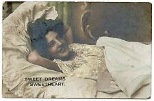 Pretty Young Lady In Bed Vintage Photo Postcard Sweet Dreams Tinted