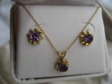 10K YELLOW GOLD* 5mm ROUND AMETHYST FLOWER *NECKLACE & EARRINGS SET* FEB. BIRTH