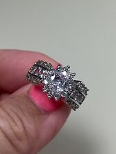 Victoria Wieck 10KT white gold filled sapphire diamond sim ring size 8