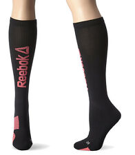 Reebok Women's Running Knee High Socks Mild Compression Black/Pink Size 6-10.5