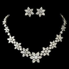 Bridal Silver Pear & Round Snowflake CZ Crystal Necklace & Earring Jewelry Set