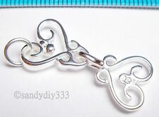 1x BRIGHT STERLING SILVER FLOWER 2-strand EYE HOOK CLASP 25mm N401