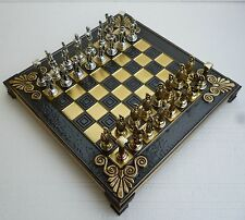 Greek Mythology Chess Set with Bronze Board and Metal Pieces Made in Greece