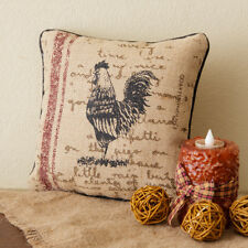 """French Country Rustic Farmhouse ROOSTER Burlap 10"""" x 10"""" Decorative Pillow"""