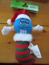 M&M BLUE IN STRIPED STOCKING MINI PLUSH CUTE CHRISTMAS HOLIDAY ORNAMENT