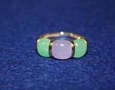 14K Yellow Gold Green & Purple Jadeite Band Ring Size 7 Estate Sale