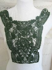 "13"" EMBROIDERED Neckline Applique FOREST GREEN   VICTORIAN INSPIRED"