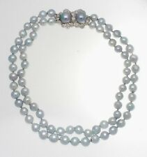 ESTATE PLATINUM, DIAMOND & DOUBLE STRAND PEARL NECKLACE 0.75 CTS.