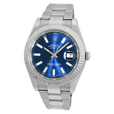 ROLEX Stainless Steel 41mm Datejust II Blue 116334 Box Warranty Card 2015 MINTY