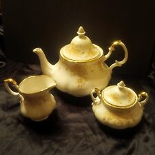 Royal Albert England Old Country Rose Gold 3 Piece Set Teapot/Creamer/Sugar Bowl