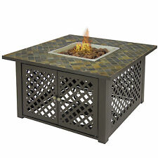 Gas Outdoor Fire Pit Table Firebowl W/ Cover Slate/Marble Garden Patio Heater