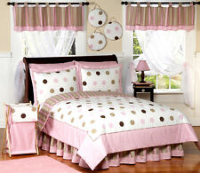 Sweet Jojo Designs Discount Modern Pink and Brown Kid Twin Teen Girl Bedding Set