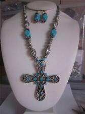 TURQUOISE LUCITE BEAD SILVER TONE BEAD BIG CROSS PENDANT NECKLACE EARRING