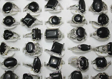 LOT DE 50pcs naturel alloy stein mix Noir bague bijoux NG0024