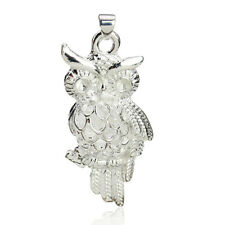 Silver Plated 925 Owl Bird Aniamal Branch Dangle Chain Pendant Necklace. 1406