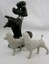 Poodle Dog Figurine Metal Pencil Holder & 2 Little Plastic Toys Mixed Materials